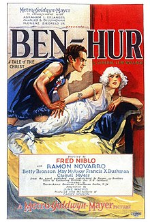 The theatrical poster for Ben-Hur (1925) depicting a man behaving in a sexually aggressive manner towards a woman cowaring from him.