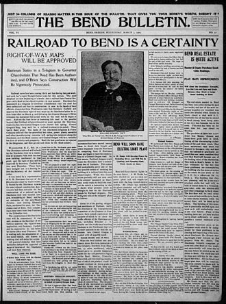 The Bulletin (Bend) - Image: Bend Bulletin (front page), 3 March 1909