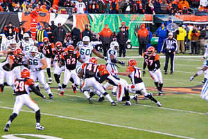 2009 Cincinnati Bengals season - Image: Bengals on defense in Wild Card Game 2010 01 09