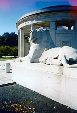 Gilbert Ledward - One of Ledward's lions at Ploegsteert