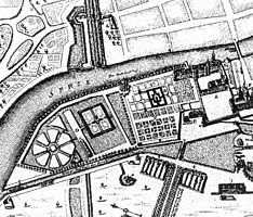Cut from Memhardt map (1652) with Lustgarten