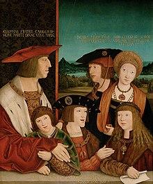 Kaiser Maximilian mit Familie (der Sohn Philipp der Schöne, die Gattin Maria von Burgund, die Enkel Ferdinand I., KarlV. und sein Schwiegerenkel LudwigII.; Gemälde auf Lindenholz von Bernhard Strigel, nach 1515, vor 1520) (Quelle: Wikimedia)