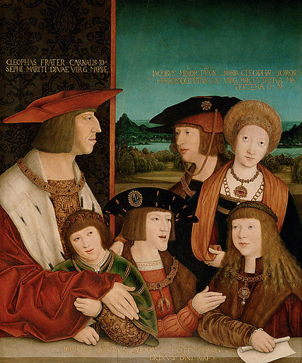 Emperor Maximilian I and his family; with his son Philip the Fair, his wife Mary of Burgundy, his grandsons Ferdinand I and Charles V, and Louis II of Hungary (husband of his granddaughter Mary of Austria). Bernhard Strigel 003b.jpg