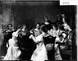 Beta girls gathered around table ca. 1899 (3192606910)