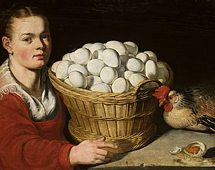 Girl with a basket of eggs.