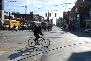 Cycling in Toronto - A cyclist in Toronto