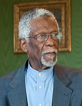 Bill Russell served as the player-coach of the Boston Celtics from 1966 to 1969, winning 2 NBA championships in that timespan. Bill Russell in the Green Room.jpg