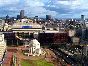 Birmingham (UK) skyline from above Centenary S...