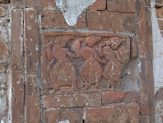 Bishnupur, Bankura - Detail of terracotta relief from the Rasmancha