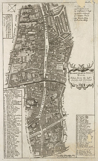 "Wards of the City of London - A 1720 map of Bishopsgate ward, clearly showing London Wall; the street and ward to the north is regarded as being ""Without"" while to the south is ""Within""."