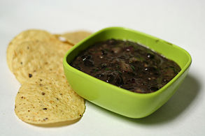 Black bean dip with tortilla chips