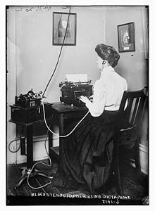 Blind stenographer from the Overbrook School for the Blind using a dictaphone.jpg
