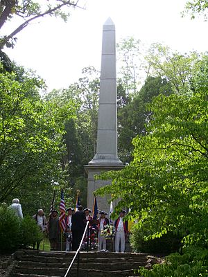 Battle of Blue Licks - Monument at the Blue Licks Battlefield State Park, photographed in  2006 during a memorial service marking the 224th anniversary of the battle.