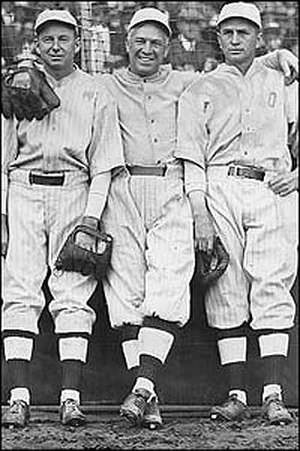 "Golden Outfield - Duffy Lewis, Tris Speaker and Harry Hooper – Boston's famous ""Golden Outfield"". Photo: The Boston Globe archives."