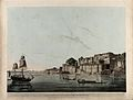 Boats on the Ganges at Ramnagar, Uttar Pradesh. Coloured aqu Wellcome V0050473.jpg