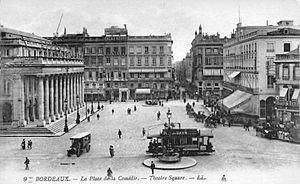 Bordeaux tramway - Tramway at place de la Comédie in the 1900s