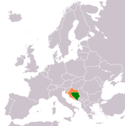 Map indicating locations of Bosnia and Herzegovina and Croatia