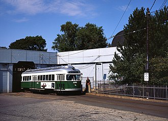 Ashmont–Mattapan High-Speed Line - PCC streetcar 3260 in the older green paint scheme at Ashmont in 1999