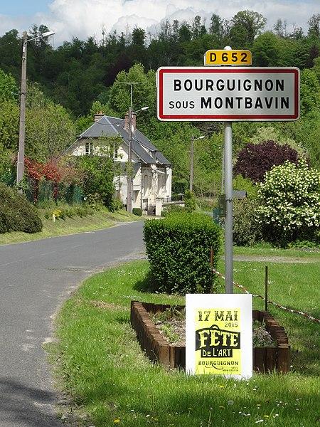 Bourguignon-sous-Montbavin (Aisne) city limit sign