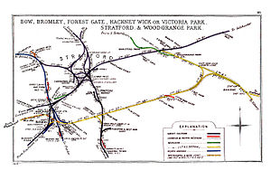 Bow Road railway station - A 1914 Railway Clearing House junction diagram showing railways in the vicinity of Bow Road (lower left)