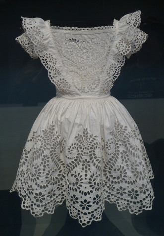 Broderie anglaise - Boy's frock, white plain weave cotton with broderie anglaise, probably English, c. 1855, Los Angeles County Museum of Art
