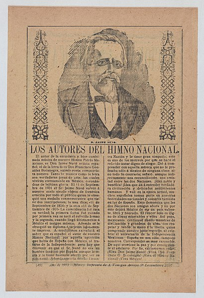 File:Broadsheet about the authors of Mexico's national anthem, portrait of Don Jaime Nuvo at center MET DP868512.jpg
