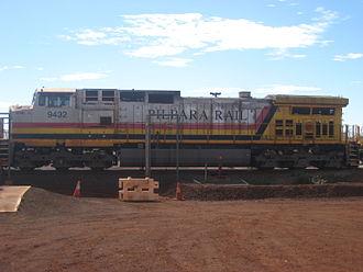 Hamersley & Robe River railway - GE Dash 9-44CW 9435 at Brockman 4 mine in June 2012