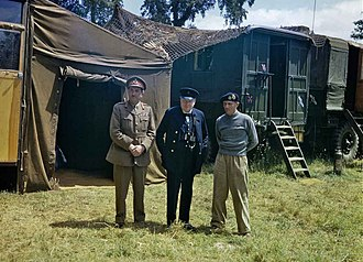 Alan Brooke, 1st Viscount Alanbrooke - Brooke (on the left) and Churchill visit Bernard Montgomery's mobile headquarters in Normandy, France, 12 June 1944.