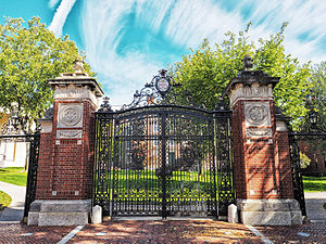 Van Wickle Gates - Outer view of the Van Wickle Gates. Manning Hall and University Hall can be seen in the background.