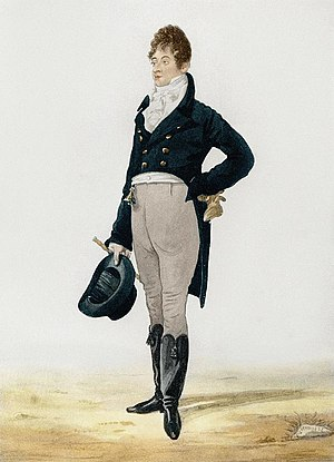 Tailcoat - Beau Brummell wears a Regency period dress coat as daytime dress. The coat is able to close and the tails are knee length.