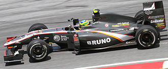 Dallara - The Dallara-designed Hispania F110 chassis being driven by Bruno Senna before the 2010 Malaysian Grand Prix.