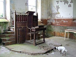 "Pulpit - ""Two-decker"" pulpit in an abandoned Welsh chapel, with reading desk below"