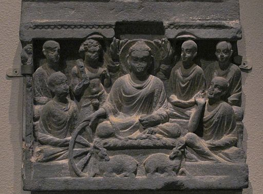 Buddha's first sermon at Sarnath. Gandhara.Met