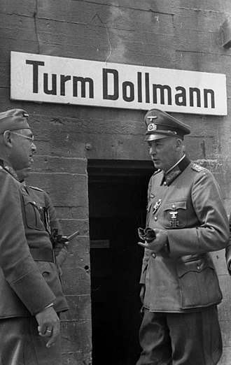 Friedrich Dollmann - Dollman stands before an artillery observation post that bears his name, near the French border.
