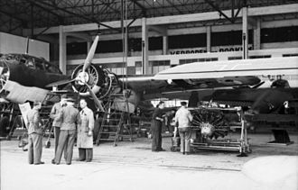 Dornier Do 17 - Two Do 17Zs in a maintenance hangar. The detached Bramo 323s power plants can be seen.