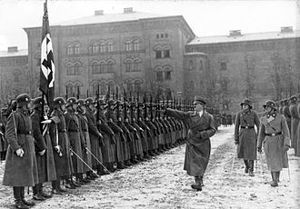 1st SS Panzer Division Leibstandarte SS Adolf Hitler - December 1935 parade for Adolf Hitler at the LSSAH Barracks. Sepp Dietrich is on the far right