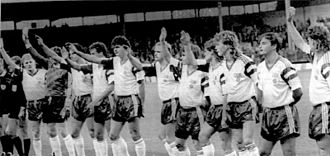 East Germany national football team - Brussels, 1990: saluting the crowd before the last-ever match