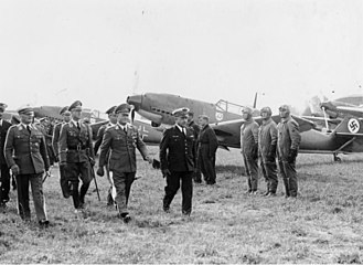 Jagdgeschwader 2 - Inspection of the JG 2's Bf 109s, Hans-Jürgen Stumpff, Erhard Milch and Joseph Vuillemin.
