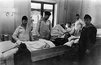 MV Wilhelm Gustloff - German soldiers wounded at Narvik being transported back to Germany on Wilhelm Gustloff in July 1940.