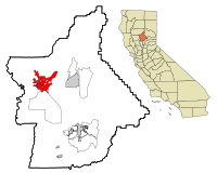 Butte County California Incorporated and Unincorporated areas Chico Highlighted.svg