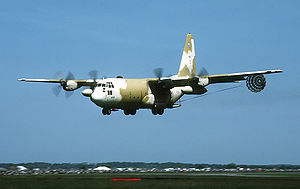 37th Airlift Squadron - A 37th TAS C-130E at RAF Mildenhall, in 1984.