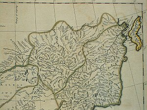 Heilongjiang - Heilongjiang and Jilin Provinces on a 1734 French map
