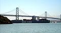 CMA CGM container ship under Bay Bridge (3478127340).jpg