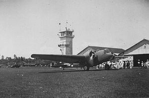 Husein Sastranegara International Airport - Martin B-10 bomber of the Royal Netherlands East Indies Army Air Force at Andir airfield (1937)