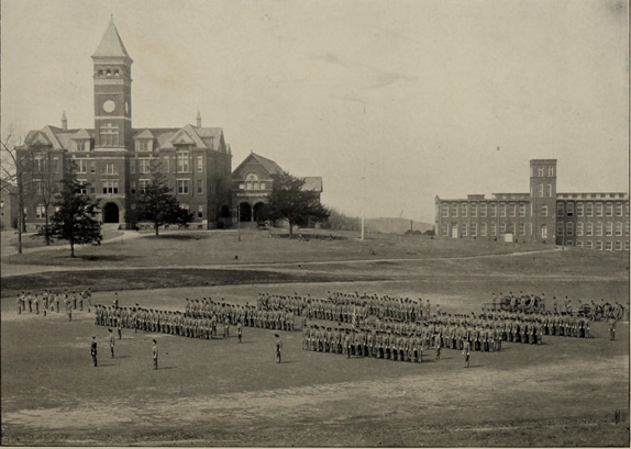 Corps of Cadets at Clemson College in 1904. Cadets on Bowman Field (Oconeean 1904).png
