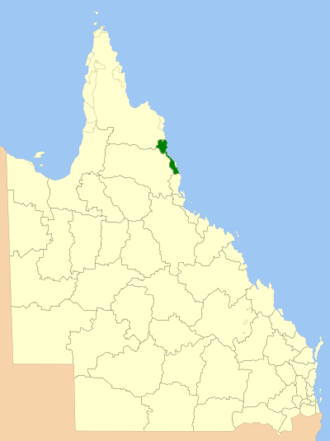Cairns Region - Location within Queensland, 2013, prior to de-amalgamation of Shire of Douglas