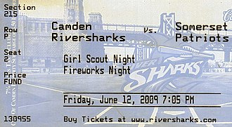 Camden Riversharks - Ticket stub for Camden-Somerset game of June 12, 2009