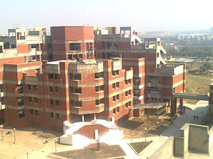 E-block (academic) of university at the Dwarka campus.