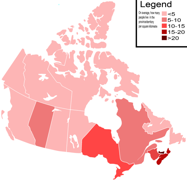 Population Density Map Of Canada File:Canada Population Density Map.png   Wikipedia