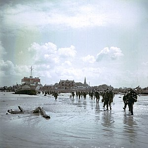 Juno Beach - Canadian soldiers landing at Juno on the outskirts of Bernières.